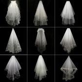 婚紗白色頭紗女新娘短韓式頭紗頭飾超仙 全館免運