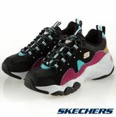 SKECHERS系列-D'LITES 3.0 女款黑X粉拼接復古休閒老爹鞋-NO.13378BBLP