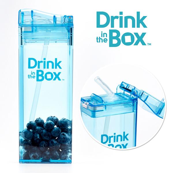 Drink in the box 加拿大 兒童戶外方形吸管水杯 / 水壺 355ml -海洋藍