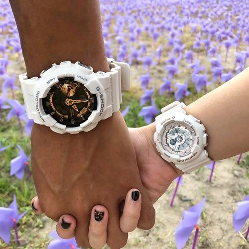 G-SHOCK x BABY-G 白色之戀情侶對錶 GA-110RG-7ADR_BA-110CH-7ADR 熱賣中!
