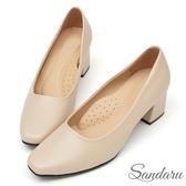 訂製鞋 法式簡約方頭皮革中跟鞋-米色下單區