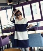BabyShare時尚孕婦裝【J031703039】韓國風休閒領哺乳裙 藍白拚色 哺乳衣 哺乳裙 長版上衣 洋裝