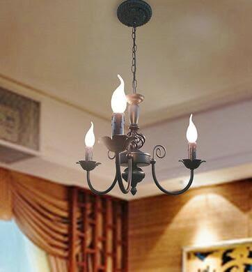 設計師美術精品館歐式蠟燭吊燈復古簡約餐廳臥室鐵藝吊燈個性田園燈3頭