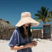 16cm超大帽檐雙面漁夫帽 度假凹造型遮陽帽子女夏天