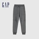 Gap男童 基本款純色鬆緊休閒針織褲 619547-深石楠灰