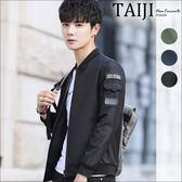 大尺碼休閒外套‧軍風袖臂貼章口袋立領休閒夾克外套‧三色‧加大尺碼【NTJB786】-TAIJI-