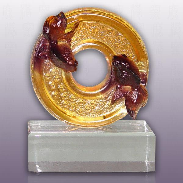 鹿港窯~居家開運琉璃獎牌【圓融】 附精美包裝◆附古法製作珍藏保證卡◆免運費送到家