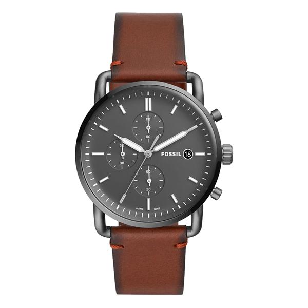 FOSSIL 都會黑騎士三眼腕錶-棕