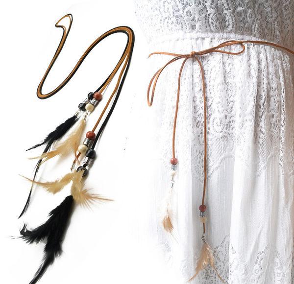 腰繩皮帶 糖果色珠珠羽毛墜飾腰繩【FJJ-10S】 BOBI  12/08