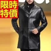 真皮風衣-保暖明星同款自信長版男皮衣大衣62x14【巴黎精品】