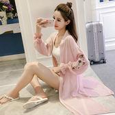 夏季新款韓版甜美刺繡喇叭袖披肩雪紡開衫中長款大碼沙灘防曬衣女   夢曼森居家