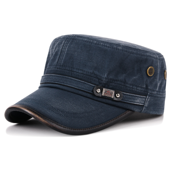 兩頭門秋冬新款韓版時尚男士軍帽四季遮陽帽做舊水洗棉保暖平頂帽