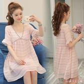 兩件式洋裝 短袖雪紡連身裙時尚新款A字裙孕婦裙子夏裝潮 DR16454【Rose中大尺碼】