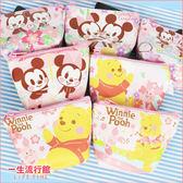 【限量】迪士尼 櫻花米奇米妮 櫻花維尼小豬 正版 夾層梯型零錢包 小物收納包 小方包 B10202