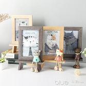 創意相框個性復古木質6寸擺臺可愛ins相架擺件鐵藝畫框水培簡約 深藏blue