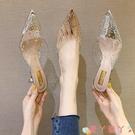 穆勒鞋涼拖鞋女外穿2021新款夏季透明水鉆細跟中跟穆勒鞋百搭包頭半拖鞋 愛丫 新品