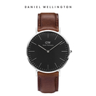 Daniel Wellington DW 手錶 40mm銀框 Classic Black 深棕真皮皮革錶