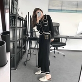胖妹妹顯瘦套裝女2019新款秋裝大碼女裝針織衫兩件套洋氣減齡褲裝