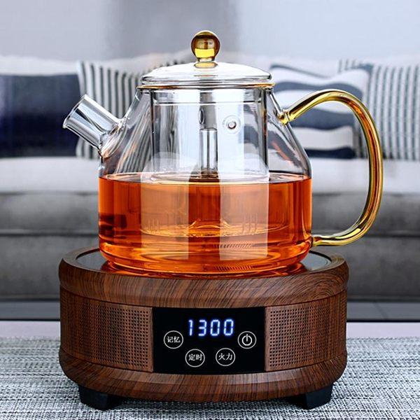 大容量全玻璃蒸茶壺 耐熱加厚玻璃煮茶器 電陶爐加熱煮黑茶蒸汽壺 220V igo 青木鋪子