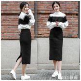 中大尺碼兩件式洋裝 毛衣加配裙子套裝女秋冬針織兩件套連身裙 nm16407【VIKI菈菈】
