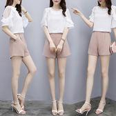 VK精品服飾 韓國風名媛荷葉透視袖洋氣短褲套裝短袖褲裝