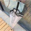 直立傘長柄透明雨傘雙人加厚日系小清新自動【極簡生活】