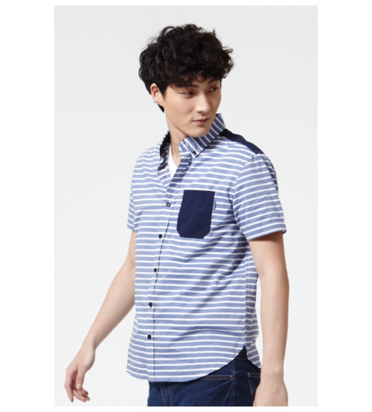 BOBSON 男款橫條紋襯衫(25003-53)