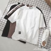 夏季港仔男士寬鬆短袖情侶裝白色t恤韓版潮學生文藝圓領衣服   蜜拉貝爾