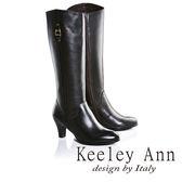 ★2016秋冬★Keeley Ann極簡魅力金屬飾釦真皮中跟長靴(咖啡色)