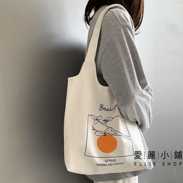 小眾文藝女夏帆布包背心手拎手提袋大學生上課側背包【愛麗小鋪】