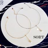項鍊 韓國風 簡約金屬環狀 垂墜珍珠頸鍊 項圈【1DDN0034】