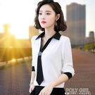 雪紡衫襯衫女長袖2021秋裝新款白色女士年超火的上衣職業氣質襯衣 夏季新品