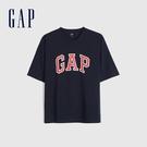 Gap男女同款 Logo純棉圓領短袖T恤 688537-海軍藍