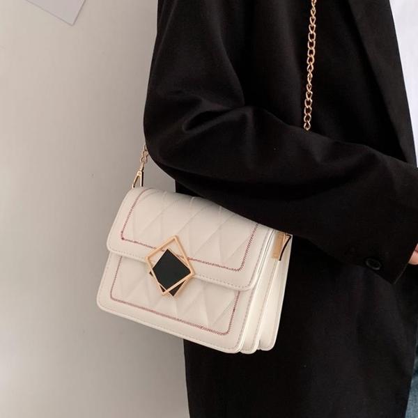 側背包菱格錬條包包新款潮時尚側背包女百搭ins洋氣流行單肩小方包