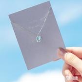 s925銀藍色極光項鏈女日系風簡約鑲鉆甜美個性短款鎖骨鏈CH915【男神港灣】