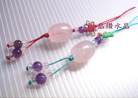 天然星光粉晶(芙蓉晶)搭配天然紫水晶吊飾