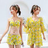 2018新款泳衣女三件套泡溫泉韓國保守小香風顯瘦胸聚攏性感比基尼