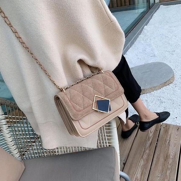 秋季小包包女新款韓版手提菱格單肩包時尚繡線百搭斜挎小方包