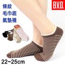 【衣襪酷】條紋休閒氣墊襪 半毛巾底 隱形襪 台灣製 B.V.D.