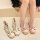 兒童夏季馬丁靴女童短靴洋氣公主透氣網靴子中大童鏤空金屬扣童靴 一米陽光