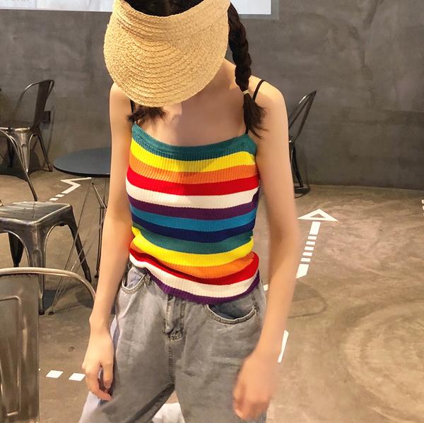 DE shop - 清新彩虹條紋吊帶背心女短款修身顯瘦內搭上衣針織背心 - HL-319