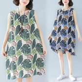 大碼洋裝 女裝新款夏季文藝葉子印花後背系帶連衣裙顯瘦打底背心裙 中秋降價