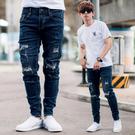 牛仔褲 3Y3綠皮標深藍刷破抽鬚合身彈性牛仔褲【NB0843J】