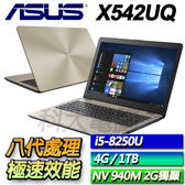 【ASUS華碩】 X542UQ-0111C8250U 霧面金 ◢15.6吋8代雙碟娛樂效能機 ◣