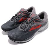 Brooks 慢跑鞋 Launch 5 灰 紅 透氣網布 避震 男鞋 運動鞋 【PUMP306】 1102781D014