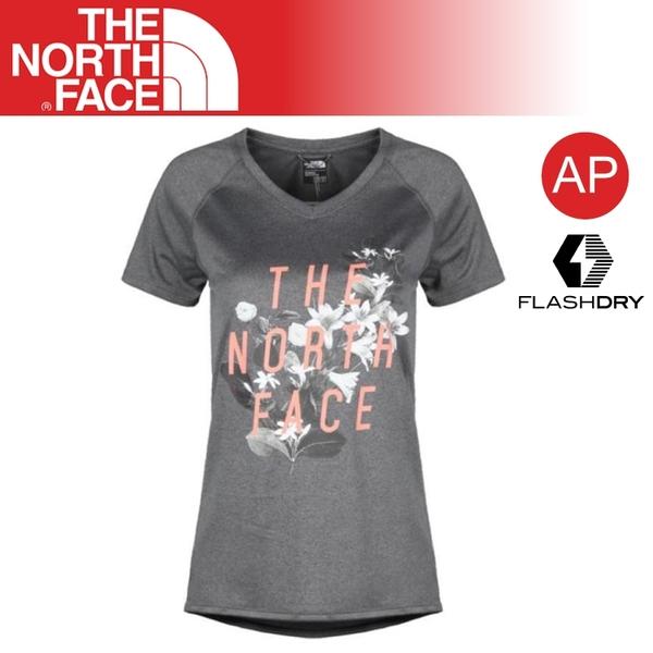 【The North Face 女 V領排汗短T《灰》】3GEF/休閒/戶外/旅行/透氣