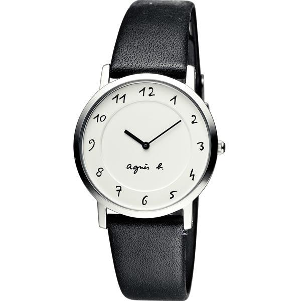 agnes b.法式優雅手寫體時標時尚腕錶 BG4001P1 7N00-0BC0S