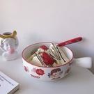 韓版ins風陶瓷泡面碗宿舍用學生麥片沙拉碗甜品碗可愛少女心帶蓋 果果輕時尚
