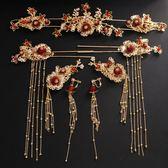 新年鉅惠 中式新娘紅色鳳冠頭飾耳環套裝古裝流蘇秀禾禮服婚禮結婚發飾