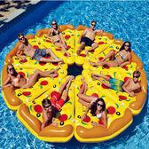 雙十二年終盛宴披薩床水上充氣玩具游泳圈成人加大多人娛樂加厚泳池充氣浮床浮排   初見居家